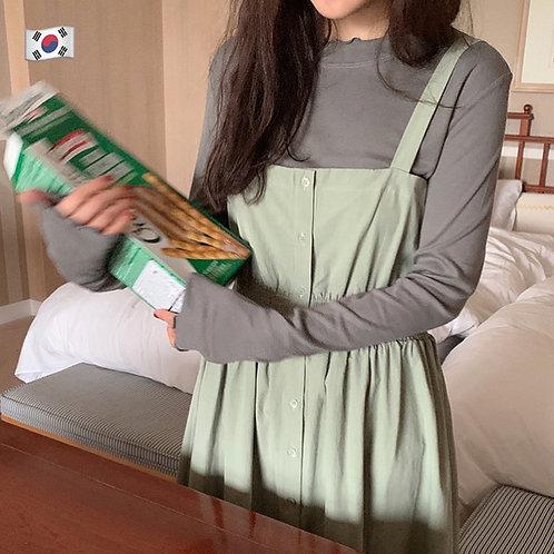 KR030 韓國純色百搭氣質吊帶裙