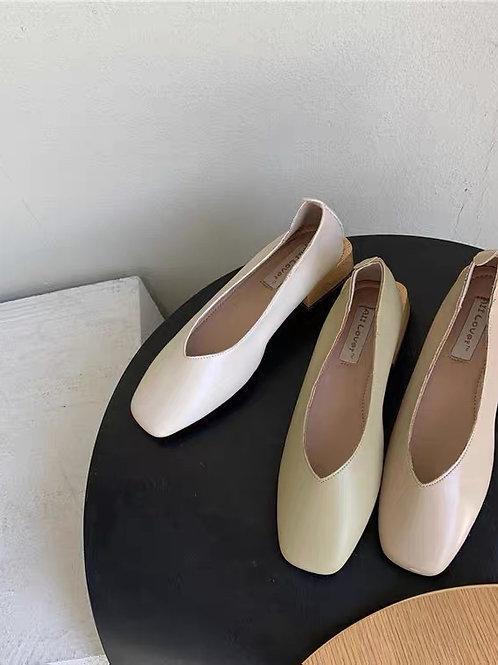 SE278 休閒純色粗跟鞋