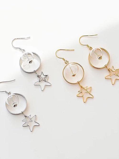 韓風長款星星耳環 (925銀針/耳夾)