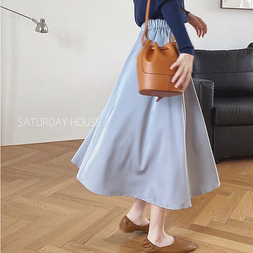 SH463 純色氣質絲滑質感半身裙