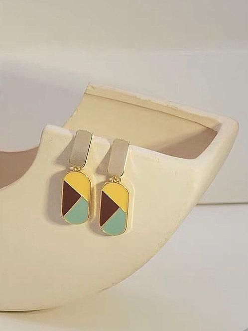 簡約拼色耳環 (925銀針/耳夾)