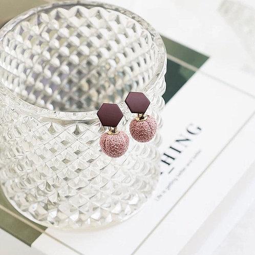 韓風可愛毛球耳環 (925銀針/耳夾)