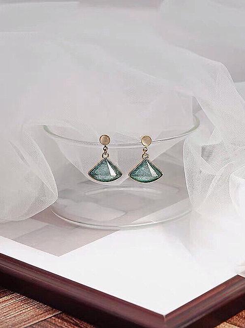 仙氣扇形耳環 (925銀針/耳夾)