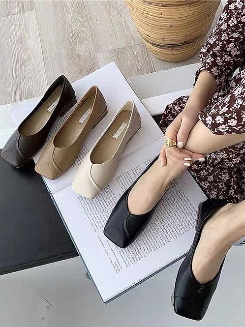 SE334 簡約純色方頭鞋