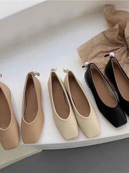SE263 韓版復古百搭粗跟鞋