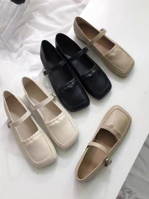 SE316 韓版復古方頭平底鞋