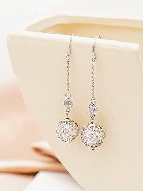 韓版復古珠子耳環(925銀針/耳夾)