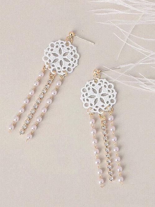 韓風蕾絲仙氣耳環 (925銀針/耳夾)
