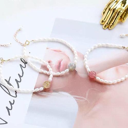 精美淡水珍珠水晶手鏈手鏈