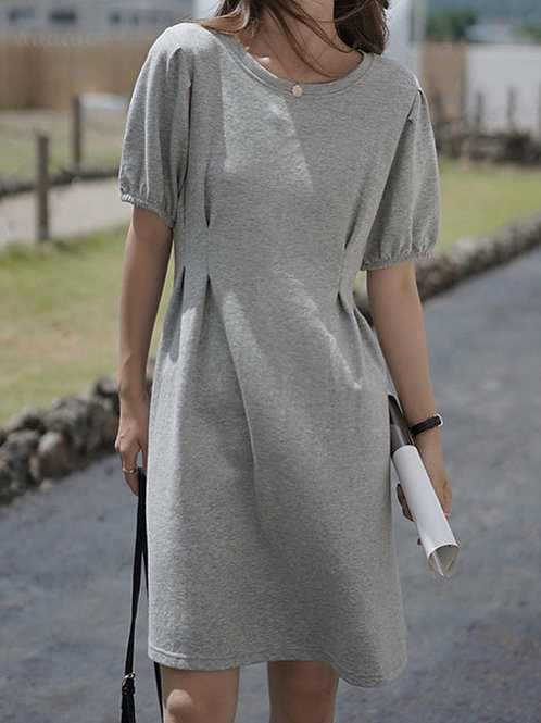 SH092 簡約純色收腰連衣裙