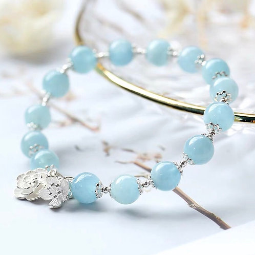 925銀花海藍寶水晶手鏈