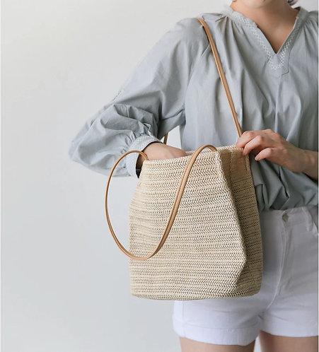 草編織單肩包