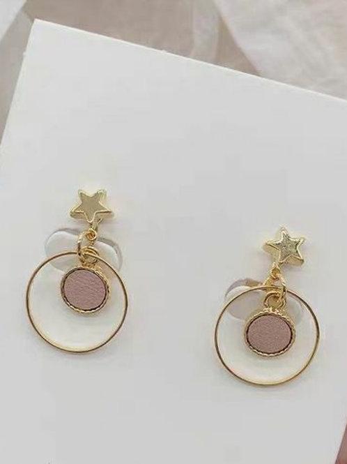 別緻圈圈星星耳環 (925銀針/耳夾)