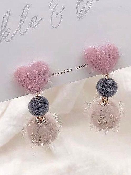 韓風毛球百搭耳環 (925銀針/耳夾)