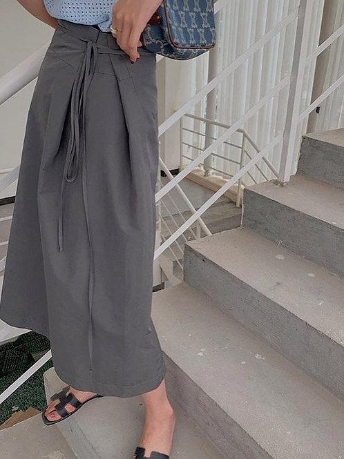 SH075 設計感休閒系帶裙