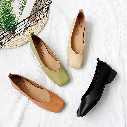 SE011 純色粗跟平底鞋