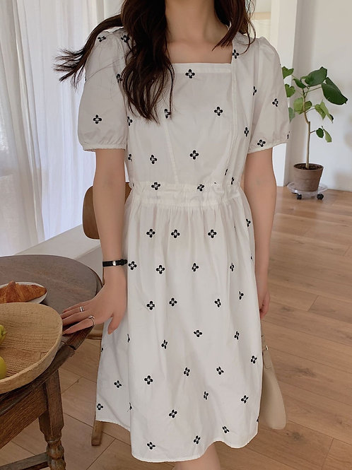 SH973 氣質刺繡花朵連身裙