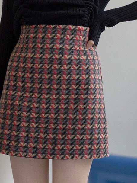 SH717 復古格子毛呢半身裙