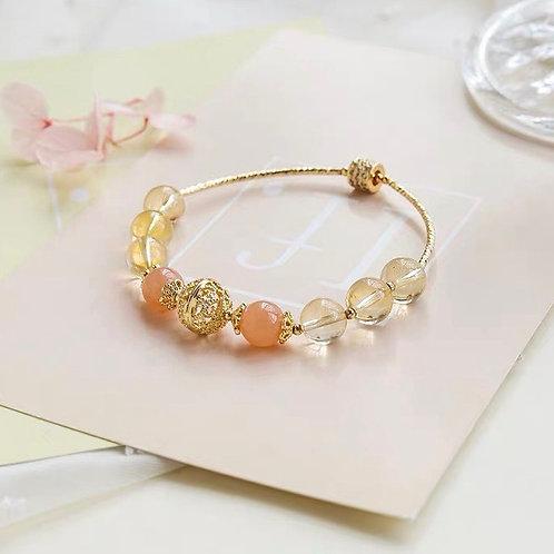 CR046「聚財助安眠」黃水晶橙色月光石手鍊