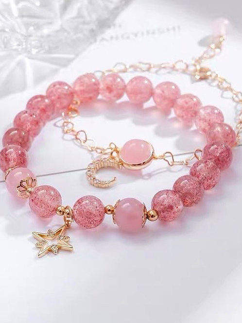 CR097 「愛情/人緣之石」粉晶草莓晶手鍊