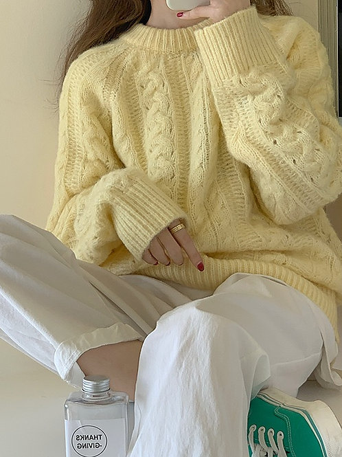 SH622 麻花懶惰風針織上衣