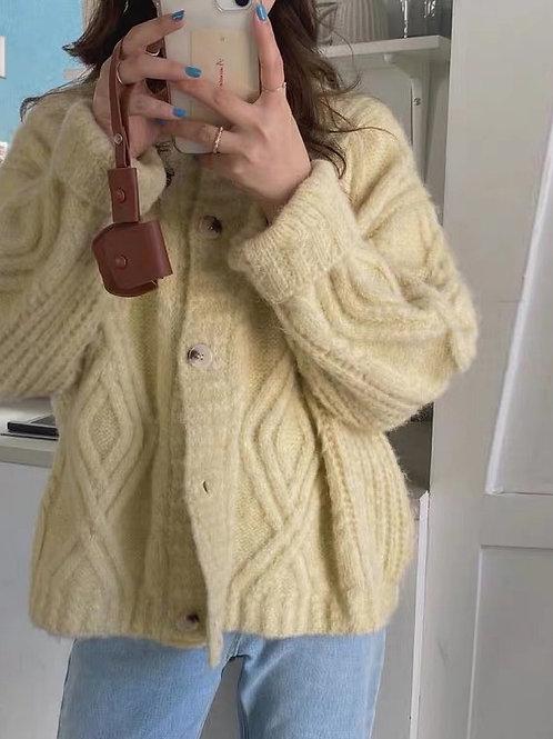 KR034 韓國復古麻花針織外套