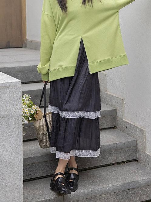 SH856 蕾絲花邊光澤感半身裙