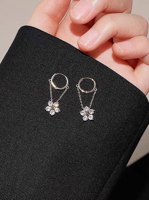 ER030 925銀針精緻花朵耳環
