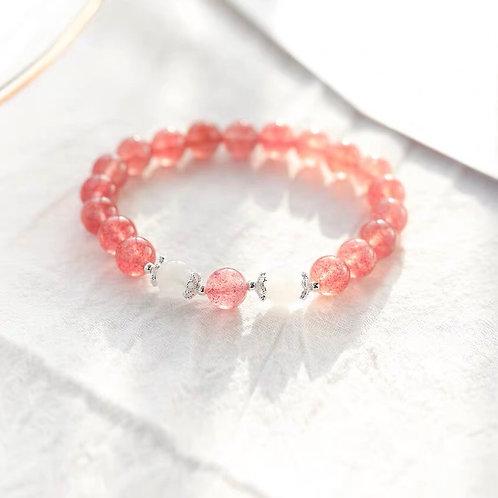 草莓晶搭粉晶手鏈