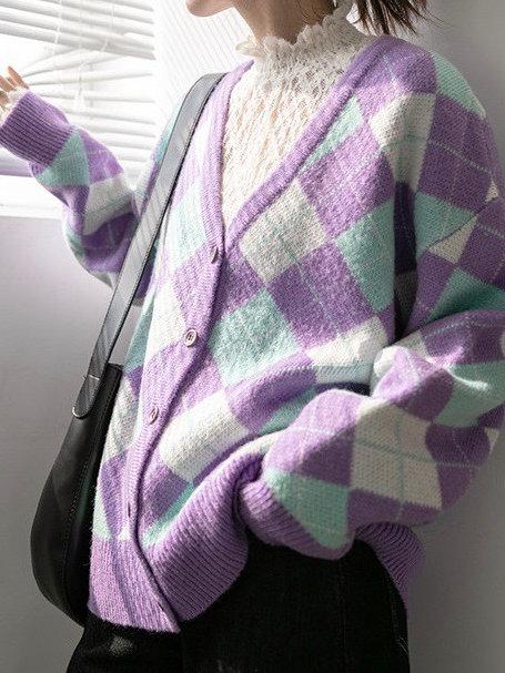 SH633 懶惰風菱格針織上衣