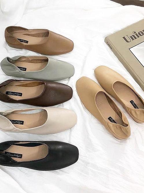 SE105 復古純色休閒平底鞋