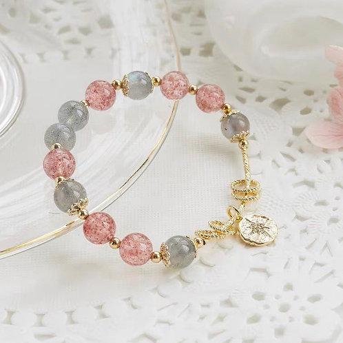 CR037 「增人緣平復心情」草莓晶灰色月光石手鍊