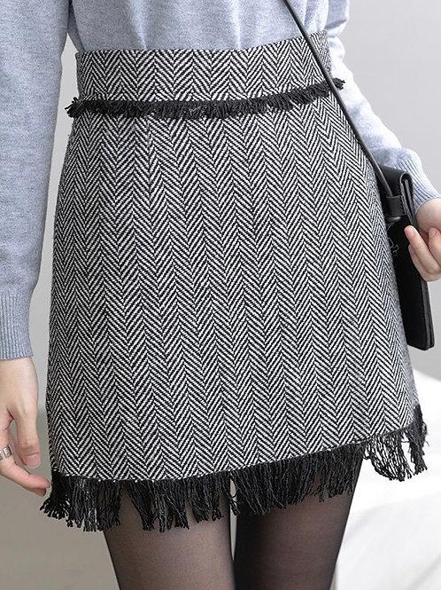 SH678 復古流蘇毛呢半身裙