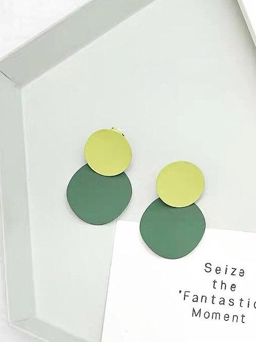 韓版圓形抽象概念耳環(925銀針)