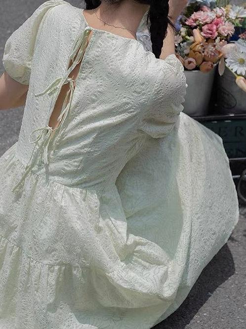 SH119 小清新泡泡袖連身裙