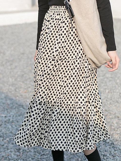 SH632 皺皺波點燈絲泥半身裙