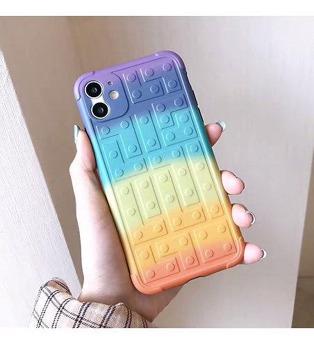CS285彩虹積木紋包邊軟殼