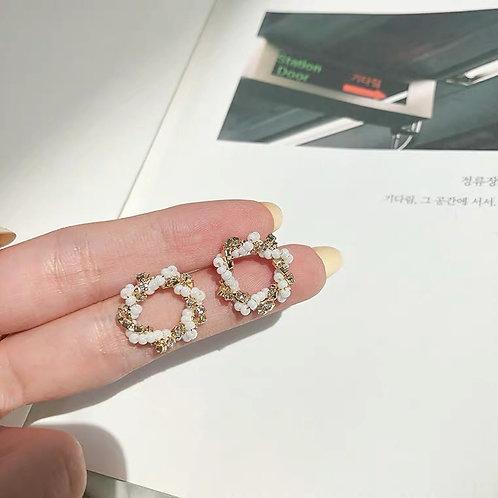 ER023 別緻珠珠圓圈耳環