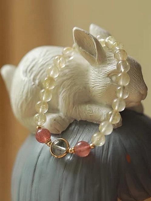 CR113 「聚財/愛情運」金髮晶草莓晶手鍊