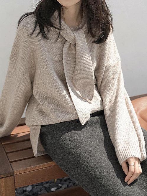 SH574 燕麥色休閒針織上衣