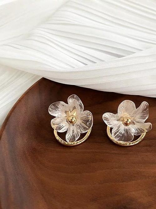 ER016 仙氣花朵耳環(925銀針/耳夾)