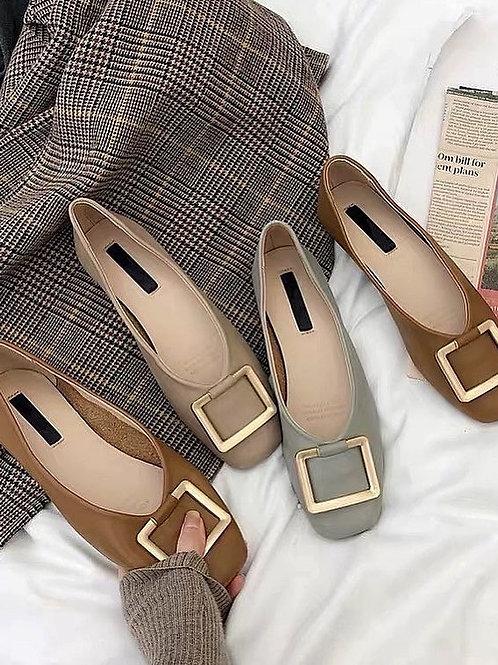 SE225 抽象風金屬釦平底鞋