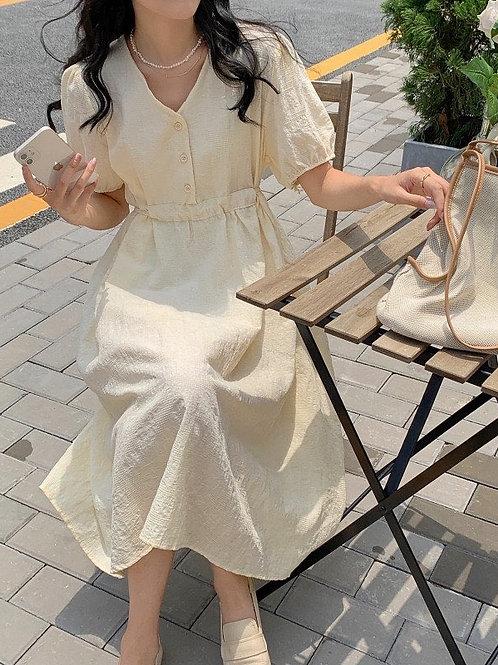SH019 韓系純色收腰單排扣連衣裙
