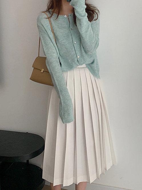 SH818 百褶純色A字半身裙