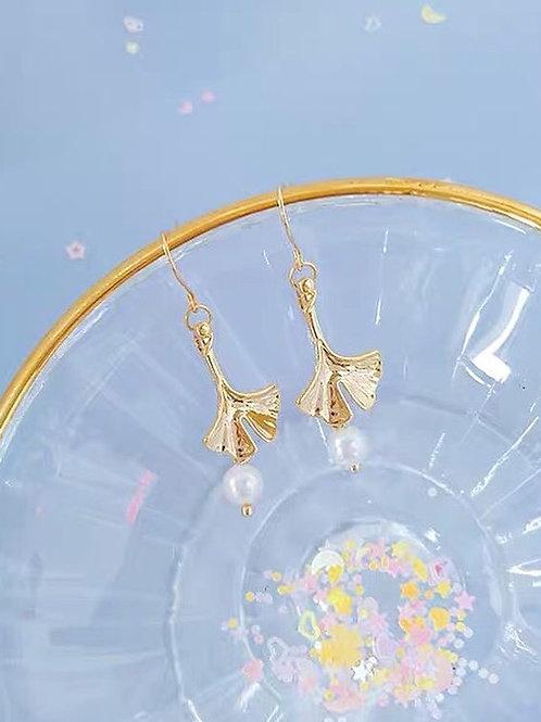 珠珠銀杏耳環(925銀針)