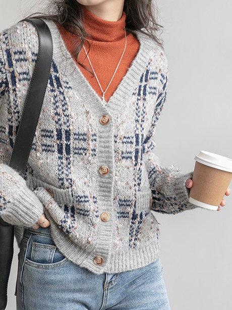 SH705 韓版撞色格子針織外套