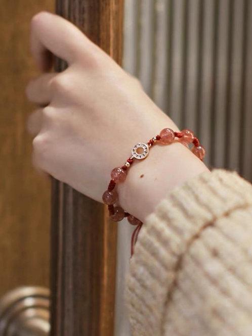 CR162 「愛情運/消除負能量」草莓晶手鏈