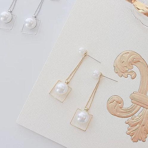 幾何珍珠線條感耳環(952銀針)