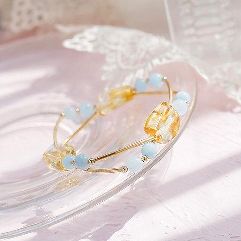 CR104 「聚財增自信」黃水晶海藍寶手鍊
