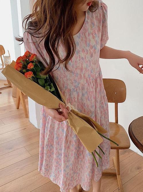 SH018 韓系水彩花瓣連衣裙